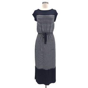 Talbots Blue and White Striped Maxi Dress